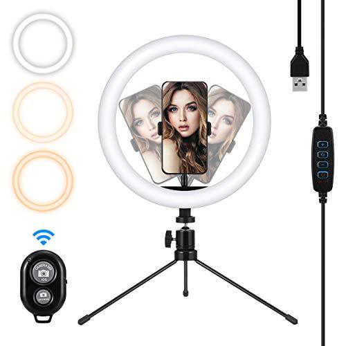 """MOHOO 10""""Luce ad Anello LED 3 colori 10 Luminosità dimmerabile Telecomando 120 LED Ring Light vivi sul desktop,con Treppiede/Supporto per telefono per Youtube Makeup Selfie Live Streaming 3000-6000k"""