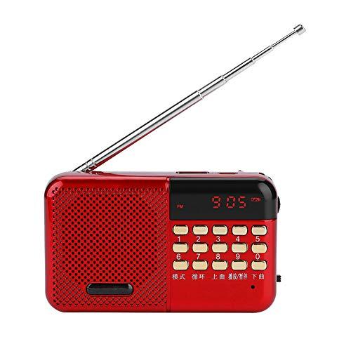 Bindpo Radio FM, Mini Reproductor de MP3 estéreo portátil con Radio FM USB con Altavoz con cancelación de Ruido, batería Recargable Grande de 2000 mAh, reproducción de Disco U/Tarjeta TF Compatible