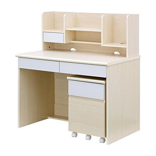 シンプルデザインで機能的なコンパクトデスク 学習机 LOOK (Newモデル・ライトナチュラル&ホワイト)