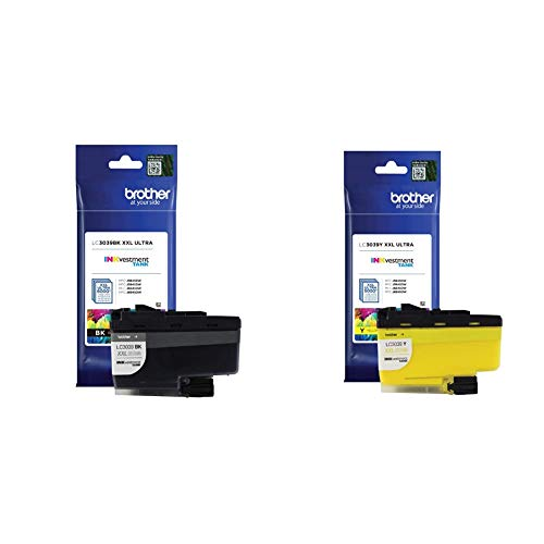 Brother Genuine LC3039BK Black Ink Cartridge, Page Yield Up to 6,000 Pages & Genuine LC3039Y, Single Pack Ultra High-Yield Yellow INKvestment Tank Ink Cartridge, Page Yield Up to 5,000 Pages, LC3039