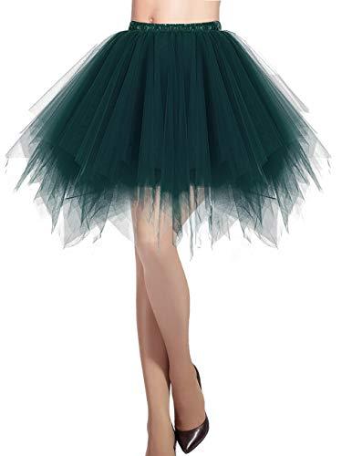 DRESSTELLS Damen Tüllrock 50er Rockabilly Petticoat Tutu Unterrock Kurz Ballett Tanzkleid Ballkleid Abendkleid Gelegenheit Zubehör DarkGreen L