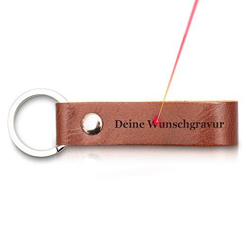 TALED® - Premium Schlüsselanhänger aus Leder mit Schlaufe - Eigene persönliche Wunschgravur - Inklusive Stoffsäckchen als Geschenk - Made in Germany