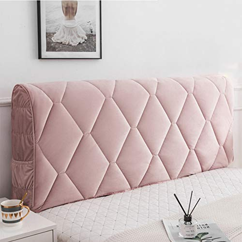 Headboard Cover Dust Cover Elastic Curved Backrest Dust Cover, Washable ,Say Goodbye to The Old Cold Bed Board, Best Companion,Pink-180CM