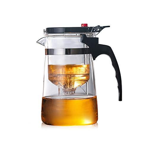 KUANDARMX Seguridad Tetera de Vidrio, Tetera de Vidrio fácil de filtrar Tetera con colador de té de plástico para PC, un botón para filtrar té Calentamiento Rápido, 850ml+4cup