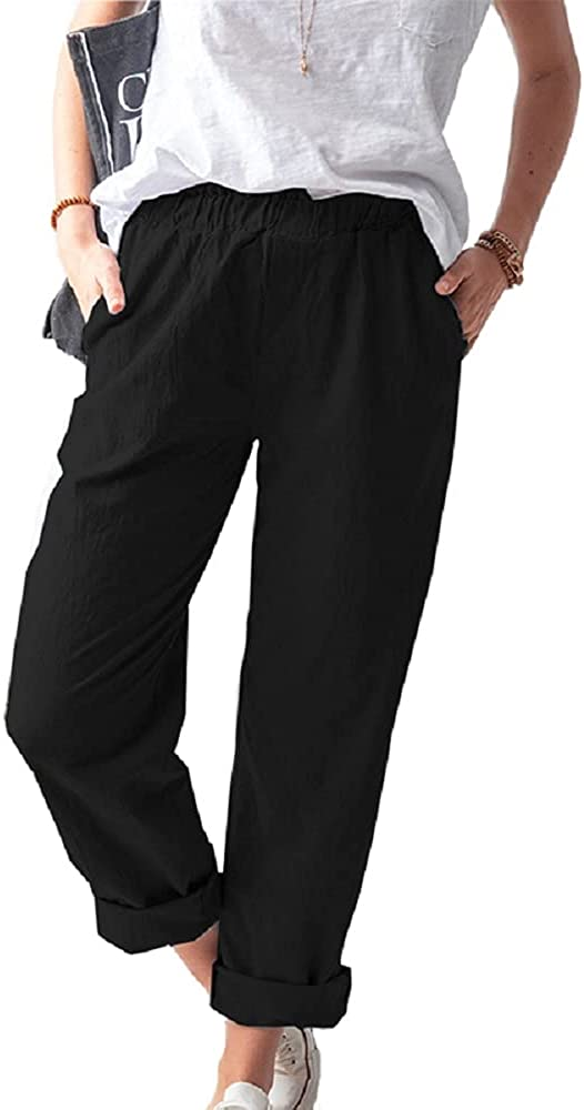 Women's Straight Pants Elastic Waist Casual Trousers Pants with Pockets