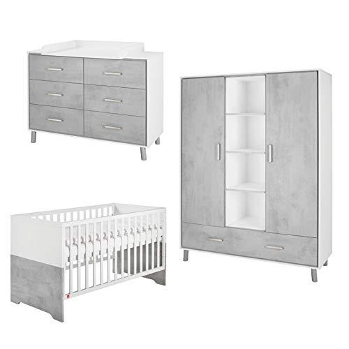 Schardt Coco Grey 11 211 34 83 - Juego de 4 piezas para habitación infantil con armario de 2 puertas