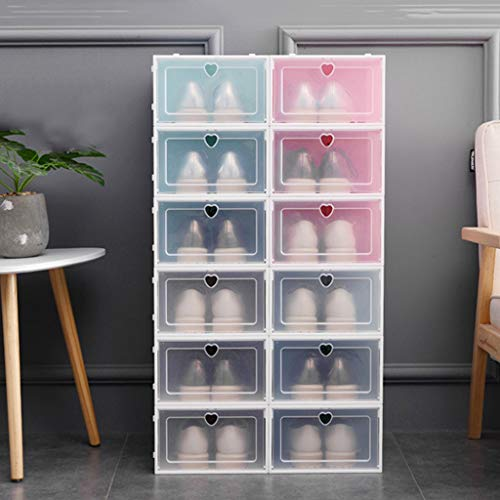 Factorys Caja de Zapatos de Almacenamiento apilable de plástico Transparente Armario de Almacenamiento Organizador Contenedor de Almacenamiento en el hogar Organizador de Oficina