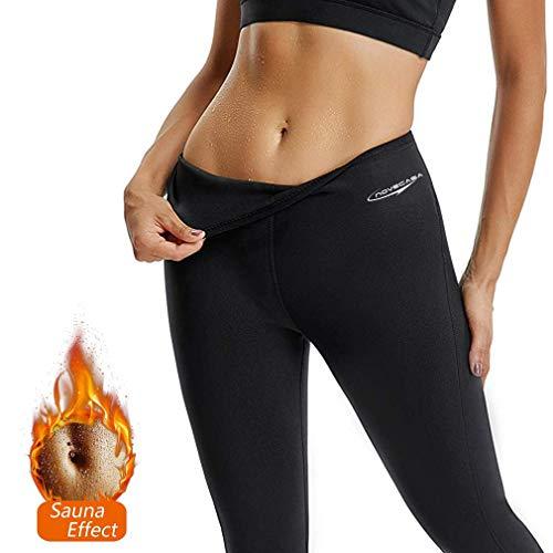 NOVECASA Sauna Shorts Damen Neopren Hosen Kurz Fitness Yoga zum Schwitzen Fettverbrennung Bauch Slimmerbelt Abmagerung (XL, Schwarz-Schwarz)