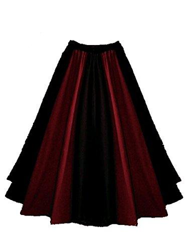Dark Dreams Gothic Mittelalter LARP Rock Luana zweifarbig, Farbe:schwarz/rot, Größe:freesize