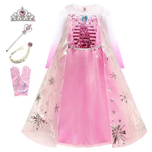 Eleasica Nia Vestido Frozen Disfraz de Princesa Elsa Reino de Hielo Corona Varita Mgica Accesorio Nios Costume Carnaval Navidad Fiesta Regalo Parte Ceremonia Cosplay