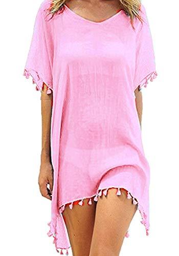 Yuson Girl Pareos Playa, Mujer Camisolas y Pareos Ropa de Baño Bikini Cover Up Vestido Playa Mujer Camisolas Playa (Rosado)