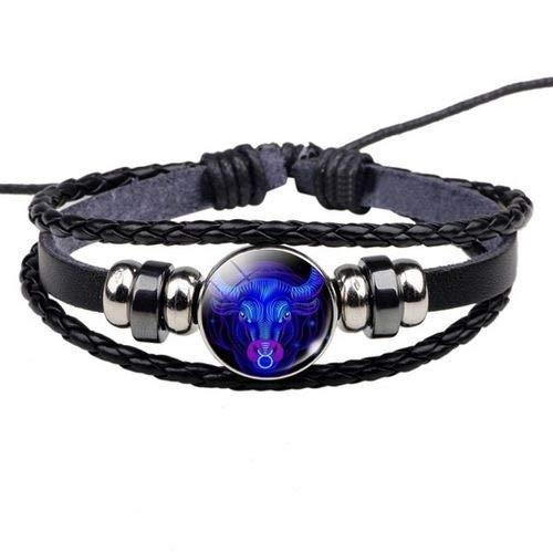 Beldis schönes schwarzes Damen Herren Surferarmband mit Sternzeichen Ihrer Wahl Blau Geschenk Bracelet Horoskop Chunk Kunstleder Armband (Stier)