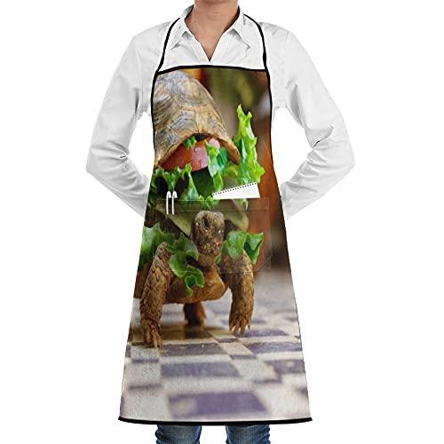 LOSNINA Delantal de cocina Impermeable y antiincrustante para hombres delantal de chef para mujeres restaurante de jardinería barbacoa cocinar hornear,Hamburguesa de tortuga divertida