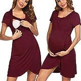 Pinspark Damen Umstandsnachthemd Geburt Krankenhaus Nachthemd Kurzarm Stillnachthemd für Schwangere und Stillzeit (Weinrot, S)