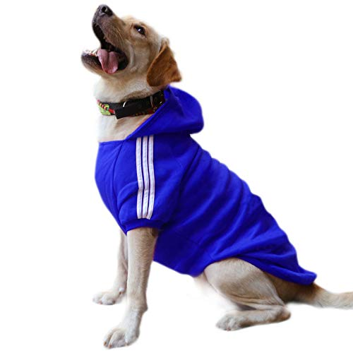 DULEE Hund Warme Hoodies Mantel Jumpsuit Haustier Kleidung Jacke Pullover Baumwolle Pullover Outwear Dunkelblau 9XL