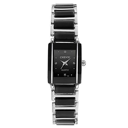Damenuhren Rechteckig Keramik Armbanduhren für Damen Einfaches Strass Schwarz