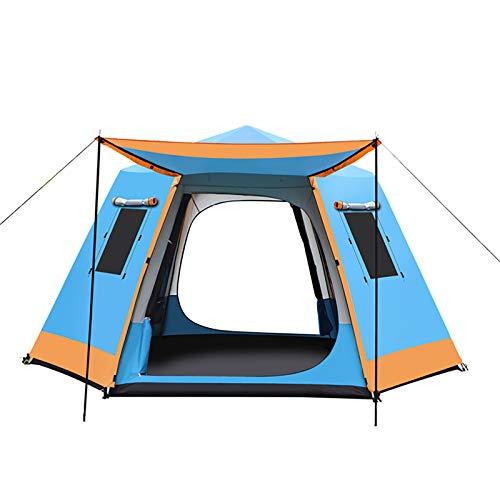 ZXD Tienda de Campaña Familiar para 3-7 Personas, Tienda de Camping Impermeable Anti Viento, para Camping o Festivales, Acampada, Familiar,Azul,Small