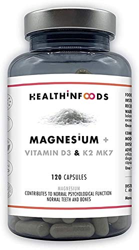 magnesium citrato de magnesio Magnesio Vitaminas D y K2 MK7 Reduce el Cansancio Refuerza el Sistema Inmune Alta Dosis 430mg magnesio citrato 2000UI 120 Cápsulas magnesium citrate Healthinfoods