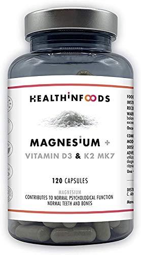 Magnesio+Vitamine D e K2 MK7-Riduce la fatica-Reinforza il sistema immunitario.Alta dose: 430mg di magnesio+2000UI Vitamina D3+30μg de Vit.K2-100% Vegan-120 Capsule - Healthinfoods