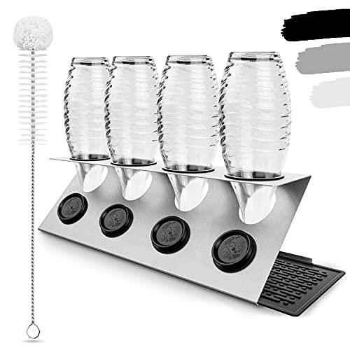 LICHTENWERK® Premium 4er Flaschenhalter kompatibel mit SodaStream aus Edelstahl [STEELDRY - Das Original] - Abtropfhalter passend für alle Wassersprudler inkl. Abtropfmatte