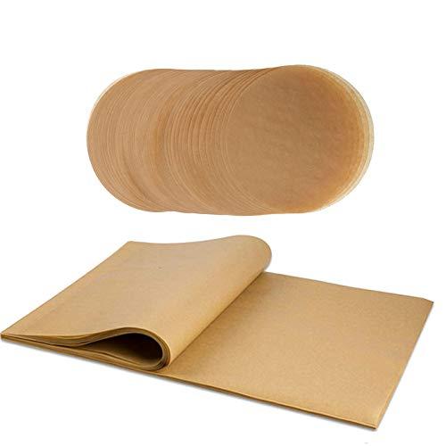 Papel de pergamino para hornear redondos y rectangulares, 200 hojas de papel de hornear antiadherentes, perfectas para hornear, cocinar al vapor, separar empanadas, forros de freidora de aire y más