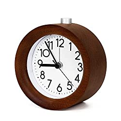 Boucoln 4 Wooden Alarm Clock Battery Operated Non-Ticking with Snooze Button,Night Light,Gentle Wake