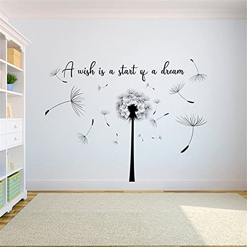 Zdklfm69 Adesivi da Parete Adesivi Murali Vinile per Semi di Dente di Leone Che soffia nel Vento Wall Art Flower Decor Girls Nursery Room Wall Art Decalcomanie 57x44cm