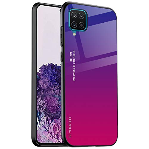 ALAMO Samsung Galaxy A12   M12 Farbverlauf Glas Hülle, Bunt Panzerglas Handyhülle TPU Silikon Schutzhülle - Farbe 4