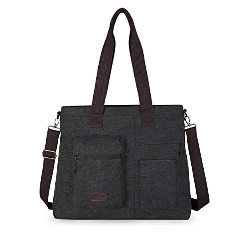 IDAILU Large Canvas Tote Bag Casual Daily Cross-body Hobo Handbags with Detachable Shoulder Strap (Black)