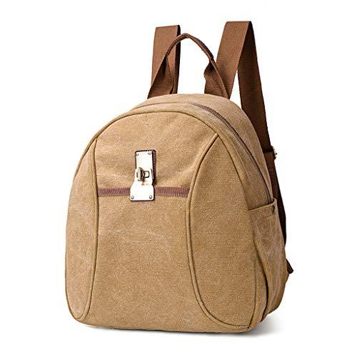 VECOLE Rucksäcke Damen Herren Vintage Canvas Rucksack mit großer Kapazität Campus Studententasche Laptoptasche(Khaki)
