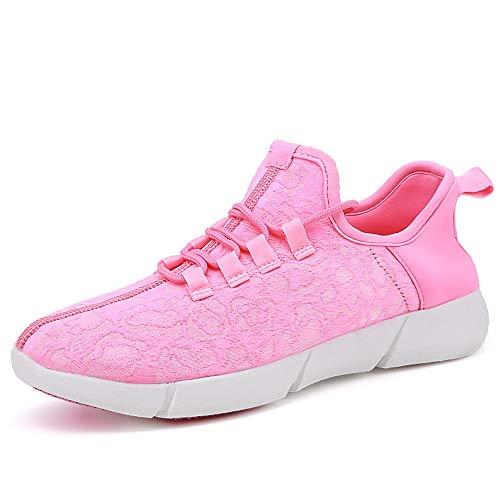 iwzmiapal Size 25-47 New Summer Led Fiber Optic Shoes for Girls Boys Men Women USB Recharge Pink 10 M US