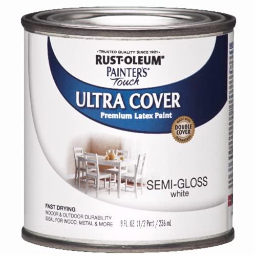Rust-Oleum 1993730 Painter's Touch Latex Paint, Half Pint, Semi-Gloss White