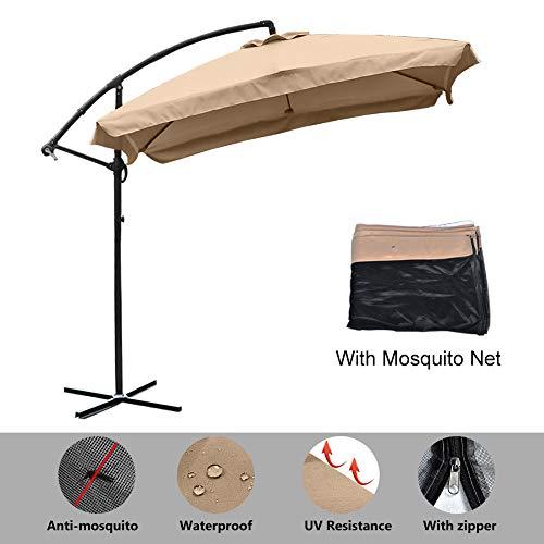 8ft Patio Offset Hanging Umbrella, Outdoor Cantilever Umbrella with Mosquito Net, Outdoor Market Umbrella with Crank Lift & Cross Bases, Adjustable Umbrella for Garden, Deck, Backyard, Pool