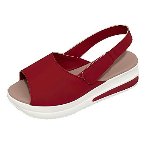 XOXSION Sandalias de verano para mujer, cómodas, con plataforma, informales, con cuñas, para hacer deporte, color Rojo, talla 37 EU