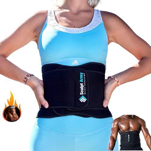 Sculpt Army Schwitzgürtel, Bauchweggürtel, Waist Trainer Herren & Damen, Verstellbare Fitnessgürtel, Taillentrainer Bauchgürtel mit Sauna-Effekt, Fettverbrennung & Rückenstabilisierung