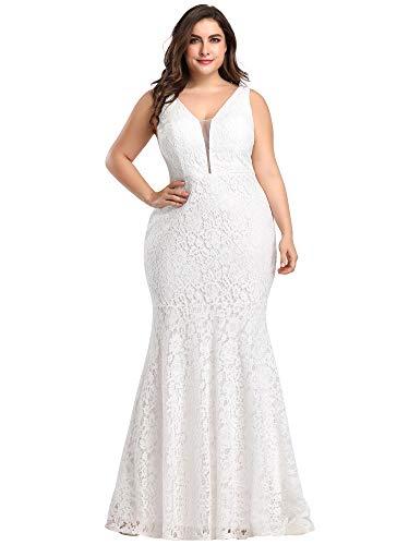 Women's Plus Size V-Neck Floral Lace Evening Party Mermaid Dress White US18