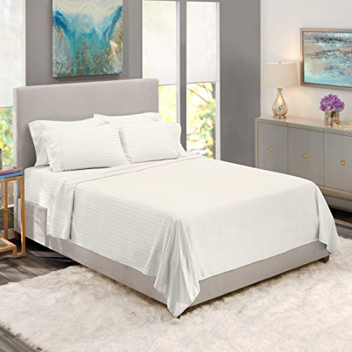Clara Clark Premier 1800 Collection Damask Stripe Bed Sheet Set with Extra Pillowcases - Wrinkle, Fade & Stain Resistant, King Stripe White