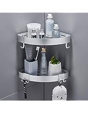 TRUSTLIFE 2 STKS Douche Hoekplank Zelfklevende Badkamer Planken Geen Boren Wandmontage Aluminium Opbergmand met 4 Verwijderbare Haken voor Keuken Bad Toilet Accessoires Organizer Rack