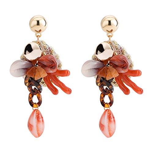 ZRDMN Orecchini acrilici europei e americani di stile etnico orecchini a forma di corallo orecchini a forma di corallo orecchini a chiocciola eardrop gioielli per donna ragazza