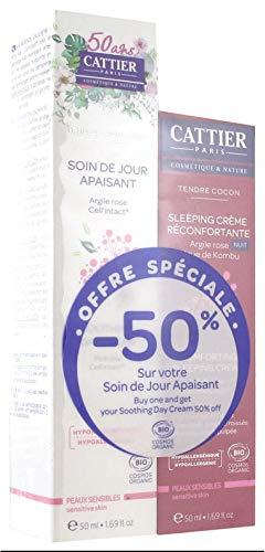 Cattier Brin de Douceur Soin de Jour Apaisant 50 ml + Tendre Cocon Sleeping Crème Réconfortante 50 ml