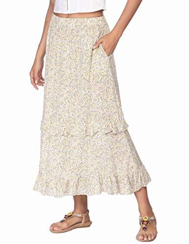 Womens Peasant Skirt Midi Skirt Peasant Elastic Band Midi Skirt Boho Floral Skirt Pleated Skirt High Waist Skirt Swing Skirt L