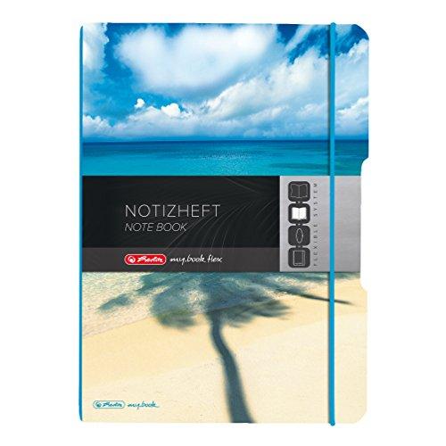 Herlitz 11415494 notitieboek my book flex design, A4, geruit en gelinieerd, PP-folie etui van kunststof - motief palm