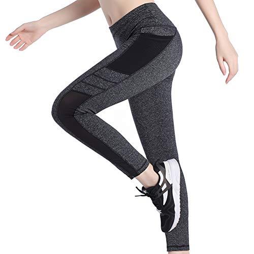 Picotee Sporthose Damen Sport Leggings Tasche Yogahose Strumpfhosen Blickdicht Schwarz 3/4 Fitnesshose Lang (Leggins lang-Grau,M)