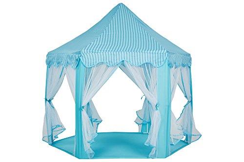 Schramm® Prinzessinnenzelt in 3 Farben Prinzessin Zelt wählbar mit LED Sternen Beleuchtung Kinder Spielzelt auch als Bällezelt Bälle Kinder Zelte Spielschloß , Farbe:blau