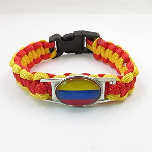 AETTP 2 Piezas De Pulsera De Colombia con Dije De Bandera De Colombia, Pulseras para Mujeres Y Hombres, Pulsera De Colombia A La Moda, Pulsera Trenzada con Dijes,Color Oro Rosa