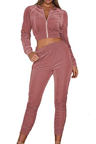 MAGIMODAC Damen Freizeitanzug Sportanzug Jogginganzug Sportjacke Jacke mit Reißverschluss Sporthose Hose mit Tunnelzug (Etikett M/EU 36-38, Rosa)