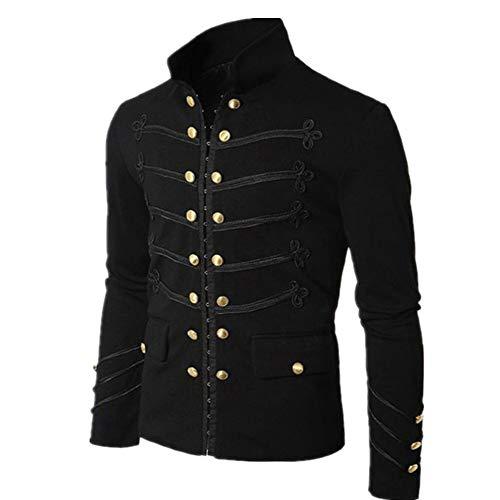 N\P Chaqueta para hombre, estilo vintage, uniforme, cosplay Negro XXXXXXL