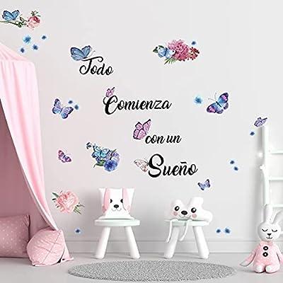 """VIVID MARIPOSA PEGATINAS DE PARED SET: """"Todo Comienza con un Sueño"""",Inspiradora frases y Mariposas decoracion pared con diferentes tamaños y colores (azul, rosa, morado como color) .Bricolaje forma diferente como te gusta disfrutar de los diferentes ..."""