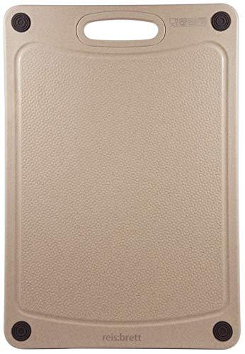 reis:brett® / das nachhaltige Schneidebrett, aus Reishülsen, spülmaschinenfest, robust, rutschfest, beidseitig verwendbar, mit Saftrille, rechteckig, 38 x 26 cm