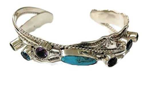 Chaco Canyon Couture .925 Sterling Silver Native American Handcrafted Jewelry Multiple Stones Turquoise Cuff